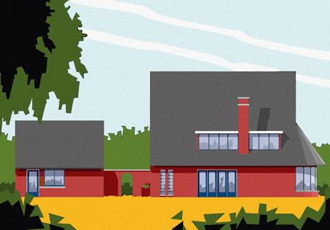 tekening linker zijgevel villa Den Haag
