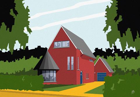 Tekening ooghoogte-perspectief villa Den Haag