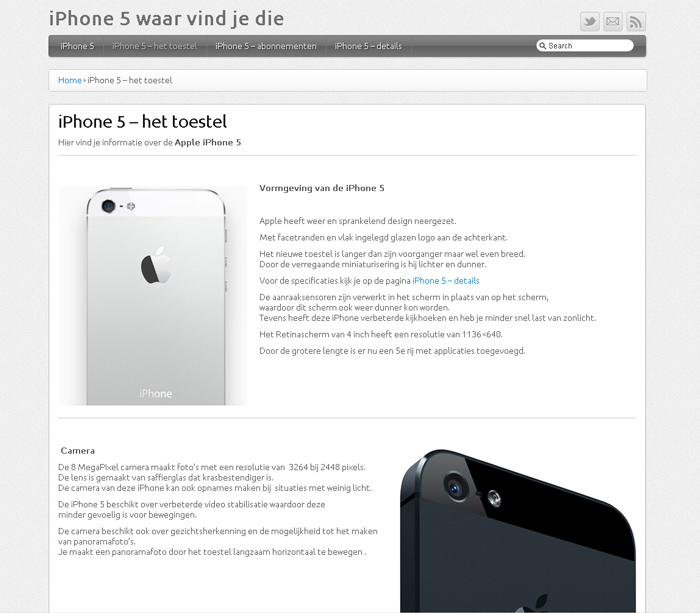 iPhone 5 waar vind je die - WordPress website